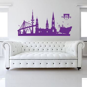 Hamburg Skyline Wall Decal