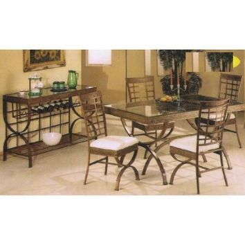5 pc metal and glass rectangular table dining table set