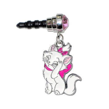 Cute White PRINCESS CAT Pink Gem Anti Dust Plug Phone Charm for Cell iPhone Android HTC Tablet iPod