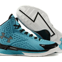 Men's Under Armour Stephen Curry One Black Light Blue Basketball Shoes