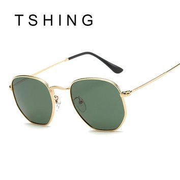 TSHING Men Hexagonal Flat Lenses Aviation Polarized Sunglasses Brand Designer New Vintage Women Pink Mirror Driving Sun Glasses
