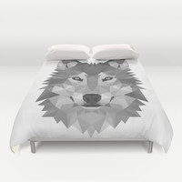 Wolf Geometric Duvet Cover by Carma Zoe