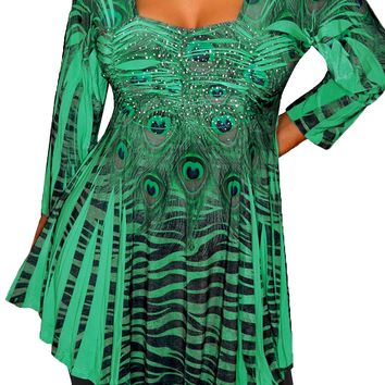 Funfash Plus Size Clothing Emerald Green Empire Waist Womens Top Shirt