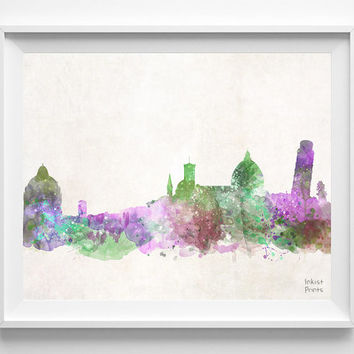 Pisa Skyline, Italy, Watercolor, Poster, Italian, Print, Bedroom, Cityscape, City Painting, Illustration Art, Europe [NO 435]