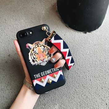 3D Europe Animal Tiger & Rabbit Stud Rivet Wrist Strap Case for Apple iPhone 7 Case for iPhone7 6 6S PLus Soft TPU Cover Lovers