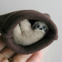 Sloth plush stuffed animal in snuggle bag with bendable legs and hand painted face -rain forest animal