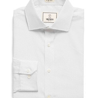 Spread Collar Dress Shirt in White Pindot