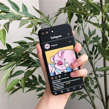 Funny Cute Pig Printed Phone Case For iphone 6 5 5S SE 6S 7 8plus Case For iphone X Cover Cartoon ins Illustration Soft Cases