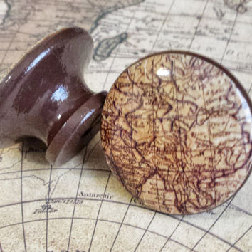 Antique Style Map Knobs Drawer Pulls, Old World Map Cabinet Pull Handles, Executive Office, Man Cave Decor, Espresso Brown, Made To Order