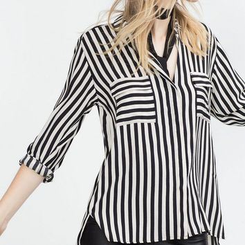 Winter Women's Fashion Stripes With Pocket Blouse [6513728199]