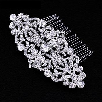 Vintage Style Crystal and Filigree Hair Comb