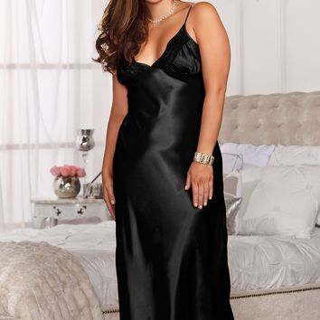 Plus Size Long Lace Trimmed Satin Gown (1X,Fuchsia)
