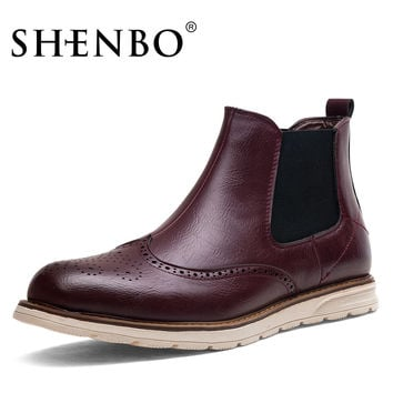 Fashion Brogue Style Men Chelsea Boots, Wine Red Men Boots,  Men Ankle Boots