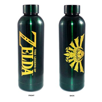 19oz OFFICIAL The Legend of Zelda Steel Water Bottle Green colored with Hyrule logo printed Novelty Gift
