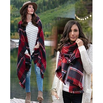 Grace & Lace Winter Weight Pocket Poncho/Scarf (Red/Midnight)