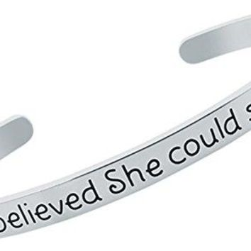 Inspirational Bracelet quotSHE BELIEVED SHE COULD SO SHE DIDquot  Quote Phrase Message Mantra Cuff Bangle  Jewelry Gift