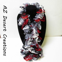 White Gray Black and Red Ruffle Sashay Scarf Truffle Scarf Handmade