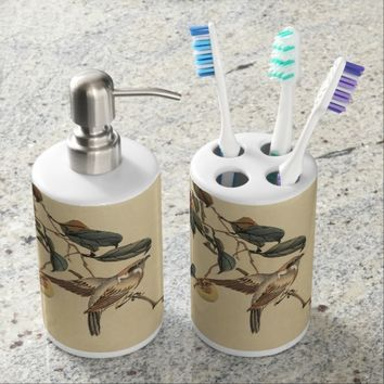 Vintage, bird on tree, watercolors soap dispenser & toothbrush holder