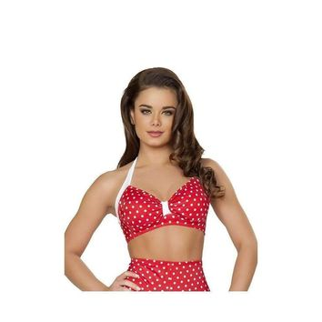 Roma Rave T3090 - Red/White Halter Top