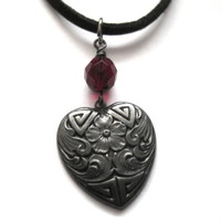 My Gothic Black Heart Choker, Suede Cord Necklace