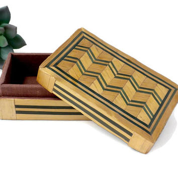Bamboo Stash Box With Green Chevron Design - 4 Inches, Wood Stash Box, Wood Trinket Box, Lined Trinket Box, Small Storage Box, Vintage Box