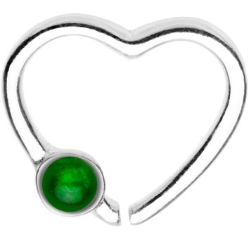 925 Silver Venturine Gem Heart Right Daith Cartilage Tragus