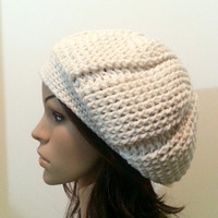 Reversible Ridged Slouch Beanie - Eggshell White - Made to Order
