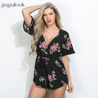 Gagalook 2017 Summer Playsuit Jumpsuit Romper Women Beach Wear Sexy Elegant Black Chiffon Floral V Neck Wrap Overalls P1648