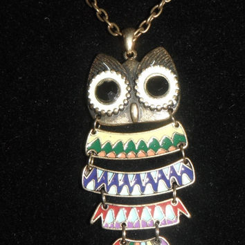 Brightly Colored Owl Necklace Gift fashion under 30 Segmented Green Yellow Red Blue Purple Brass Faceted Geometric Pattern
