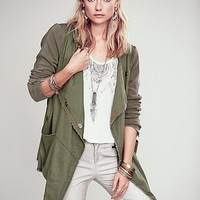 Free People Womens Drippy Linen Jacket