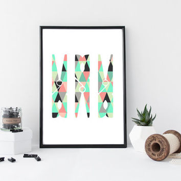 Pink and Green Clothespin Print, Magenta and Mustard Geometric Laundry Room, Geometric Pattern Clothespin Laundry Room Print *155*