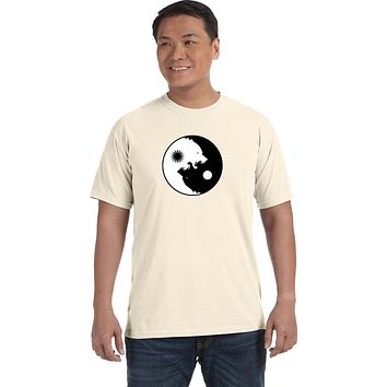 Yoga Clothing For You Yin Yang Wolves Heavyweight Pigment Dye Yoga Tee Shirt