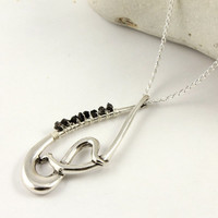 Focal Necklace - Silver Abstract Teardrop Necklace - Fancy Teardrop with Rough Diamonds - Wire Wrapped Raw Diamonds