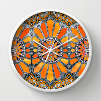 Celebrating the 70's - tangerine orange watercolor on grey Wall Clock by Micklyn