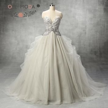 Rose Moda Fashion Deep Sweetheart Gray Silver Tulle Wedding Ball Gown with Crystal Sash Heavily Beaded Corset Wedding Dress