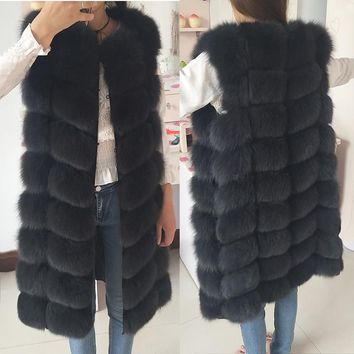 Natural Fox Fur Coat 100% Real Fox Fur Vest Jacket 2018 Women's pretty Warm Coat. Natural Real Fur Coat Jacket Real Fur Coats