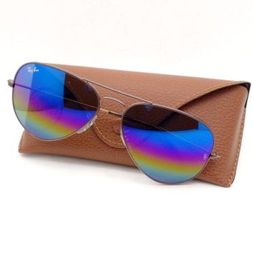Ray Ban Aviator 3025 9019/C2 58 Dark Bronze Rainbow Mirror Authentic Sunglasses