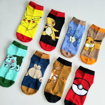 Pokemon go Pocket Monster Socks Blastoise Pikachu Charmander cotton Knee-High Warm Stitching pattern Antiskid Invisible Casual