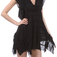 Boho Goth Black Asymmetrical Dress