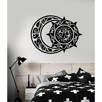 Vinyl Wall Decal Ethnic Style Crescent Moon And Sun Bedroom Decor Stickers (2916ig)
