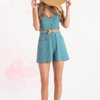Wendy Denim Button Down Romper by Lush