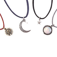 Moon & Star Suede Cord Choker 4 Pack