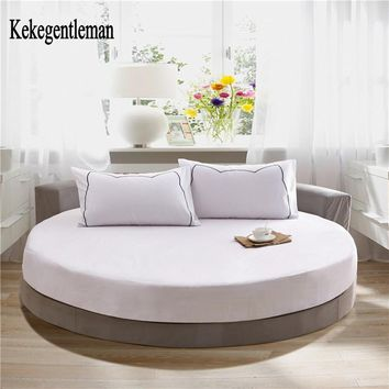 1 pcs Solid Color 100% Cotton Round Fitted Sheet Set Wedding Round Bedding Set Mattress Diameter 200cm or 220cm Kekegentleman
