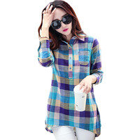Plus Size Plaid Shirt Women  Female Korean Style New Collar Long Sleeve Shirt Women Casual Cotton Linen Blouses Tops T64810