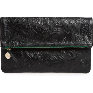 Clare V. Flower Embossed Foldover Leather Clutch | Nordstrom