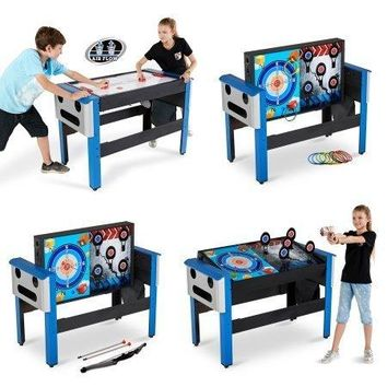 4-in-1 Swivel Air Hockey, Archery, Target Shooting, and Ring Toss Game Table