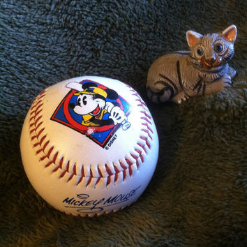 Walt Disney Baseball Vintage Collectible Signed by Mickey Mouse Goofy Donald Duck Chip Dale With Mickey Mouse Batting Paw Print Rare Ball