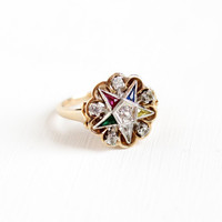 Vintage 10K Yellow & White Gold Order of the Eastern Star Cluster Ring - Size 6 3/4 OES Masonic Created Gemstones Spinels Fine Jewelry