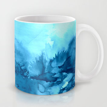 INTO ETERNITY, TURQUOISE Colorful Aqua Blue Watercolor Painting Abstract Art Floral Landscape Nature Mug by EbiEmporium