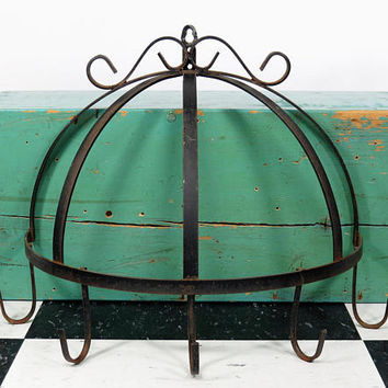 "Vintage Wrought Iron Pot Utensil Rack . Half Round Smaller Size 11"" Tall . Rustic Kitchen Decor"